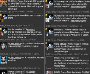 Echanges entre les internautres et le CNES sur Twitter lors d'un précédent livetweet.