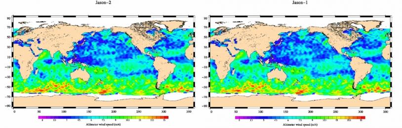 Carte Jason-2 (à gauche) de la vitesse des vents tracée à partir des données du 4 au 14 juillet 2008 ; à droite, la même carte tracée à partir des données équivalentes de Jason-1. Crédits : CNES.