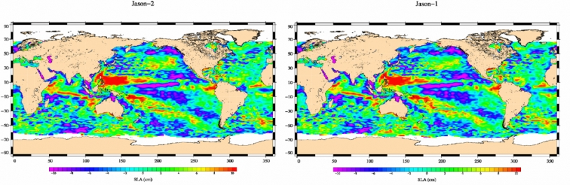 Carte Jason-2  (à gauche) d'anomalie du niveau de la mer tracée à partir des données du 4 au 14 juillet 2008 ; à droite, la même carte tracée à partir des données équivalentes de Jason-1. Crédits : CNES.