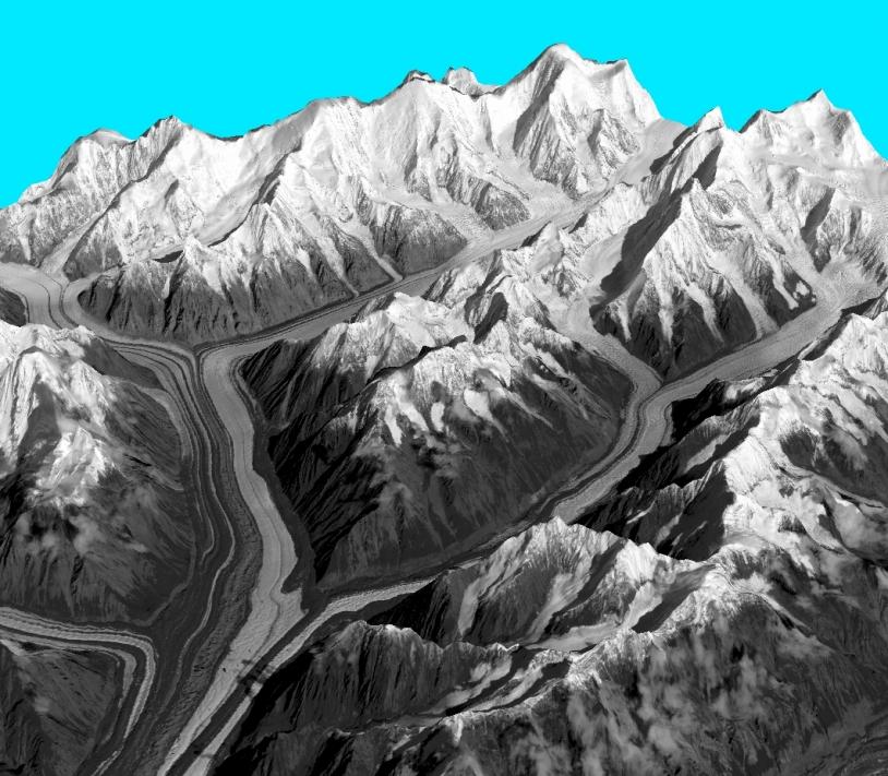 Reliefs de l'Alaska obtenus avec l'instrument stéréoscopique HRS du satellite SPOT 5. Crédits : CNES 2007/Distribution Spot Image/Traitement CNRS-LEGOS.