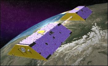 Couple de satellites GRACE. Crédits : NASA.