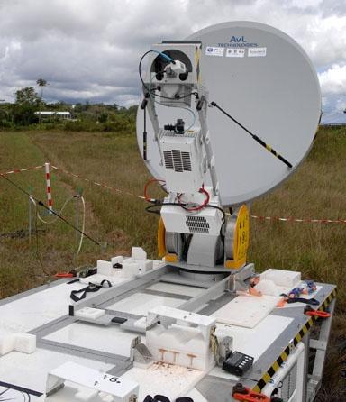 The PSMA unit's satellite dish antenna. Credits: Activité Optique Vidéo du CNES/CSG.