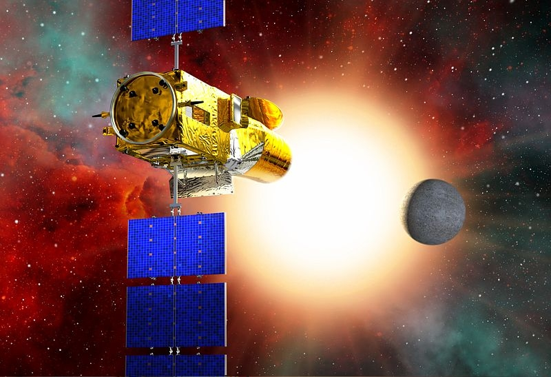 The CoRoT spacecraft detects an exoplanet when it crosses in front of its parent star. Credits: CNES.