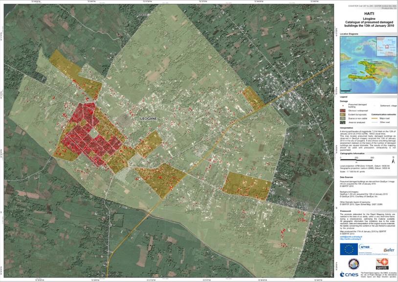 Carte des batiments endommagés à Port-au-Prince et Léogâne le 13 janvier. Crédits : GeoEye, SERTIT.