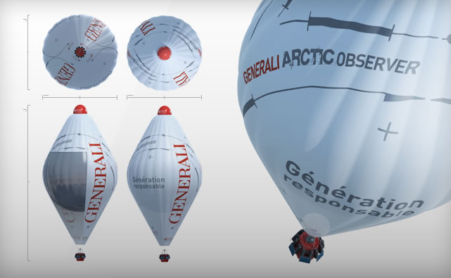 Jean-Louis Etienne will be flying in a hybrid Roziere helium/hot-air balloon. Credits: J.B. Epron/ôdouce.
