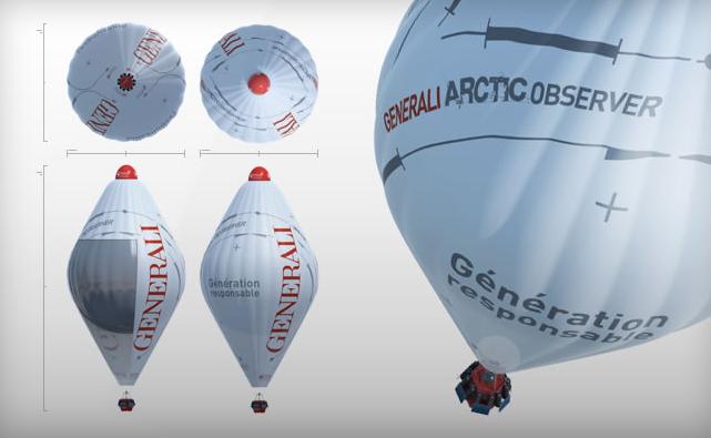 Ballon de Jean-Louis Etienne de type rozière à hélium et air chaud. Crédits : J.B. Epron/ôdouce.