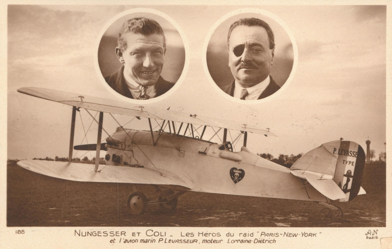 French aviators Charles Nungesser and François Coli, and their biplane l'Oiseau Blanc. Credits: Association La recherche de l'Oiseau Blanc.