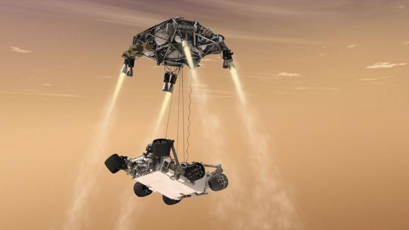 MSL, une technique d'atterrissage inédite. Crédits : Ill. NASA/JPL-Caltech.