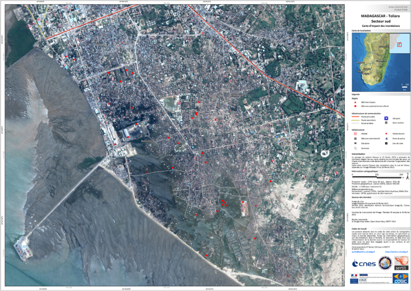 Map of the town of Toliara, southern Madagascar, produced on 27 February by SERTIT. Credits: SERTIT 2013.