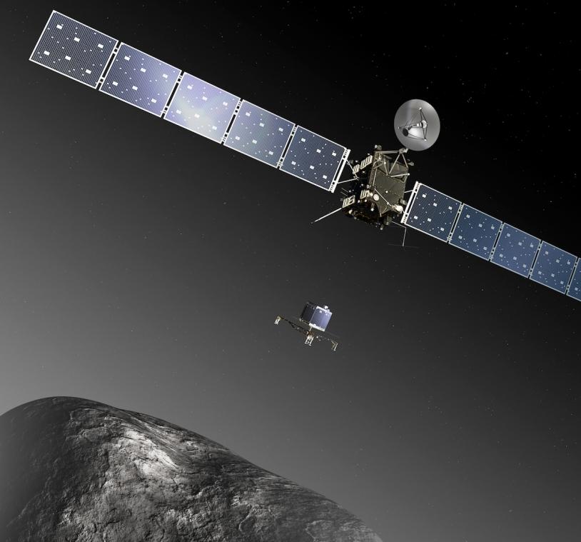 Rosetta's small Philae lander is scheduled to touch down on comet Churyumov-Gerasimenko in November. Credits: ESA - C. Carreau/ATG medialab.