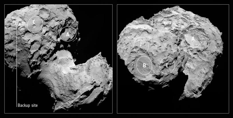 Positions des sites présélectionnés fin août. Crédits : ESA/Rosetta/MPS for OSIRIS Team MPS/UPD/LAM/IAA/SSO/INTA/UPM/DASP/IDA.