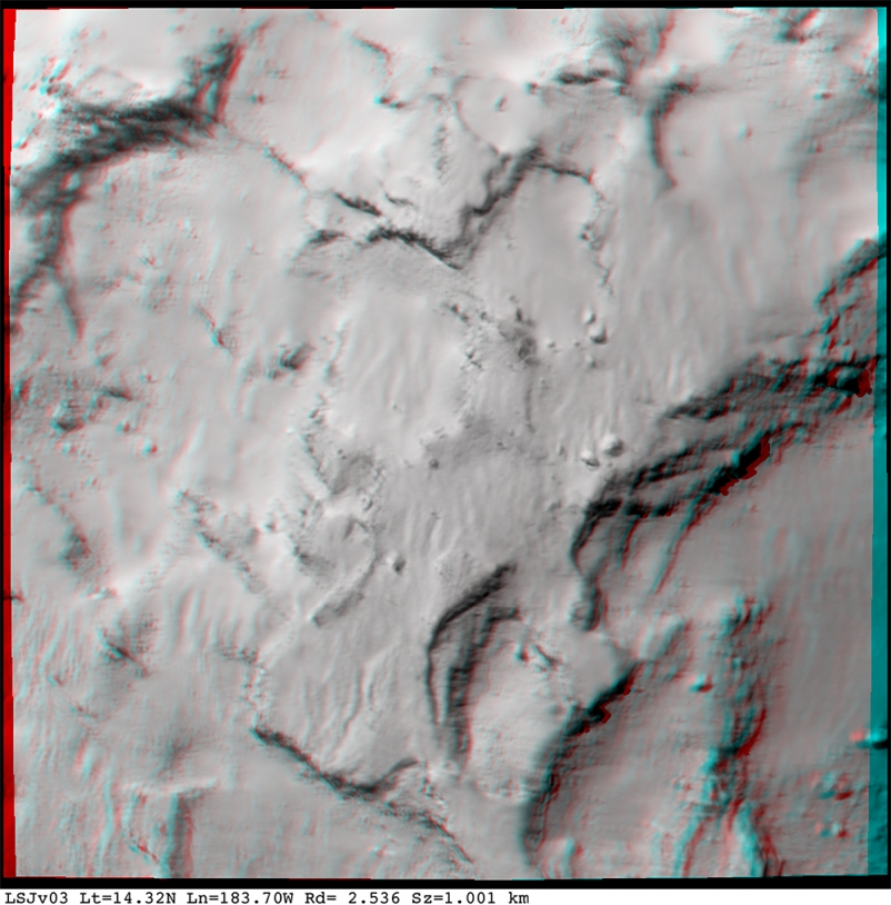 Anaglyph centred on Site J (use viewing glasses with a red filter on the left eye and a green or blue filter on the right eye); 26 August, 48 km from the nucleus at a resolution of 0.96 m/pixel. Credits: ESA/Rosetta/MPS for OSIRIS Team MPS/UPD/LAM/IAA/SSO