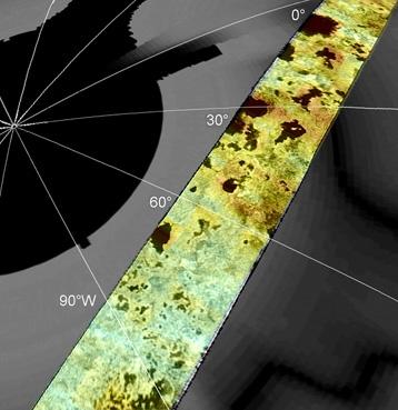 Vue du pôle nord de Titan avec ses lacs de méthane. Crédits : NASA/JPL, Cassini Radar Team, F. Paganelli.