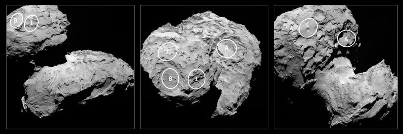 Localisation des sites d'atterrissage J (Agilkia), B et I sur le petit lobe de 67P. Après son 1er contact, Philae aurait dérivé au delà du site B. Crédits : ESA/Rosetta/MPS for OSIRIS Team MPS/UPD/LAM/IAA/SSO/INTA/UPM/DASP/IDA.