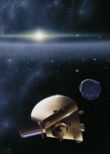 Vue d'artiste de la mission américaine New Horizons à destination de Pluton. Crédits : NASA