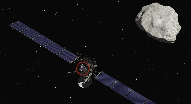 Rosetta flanquée de son atterrisseur Philae (à l'intérieur du cercle rouge) doit rejoindre la comète 67P/Churyumov-Garasimenko, à l'approche de l'été. Crédits : CNES/ill. J. Huart.