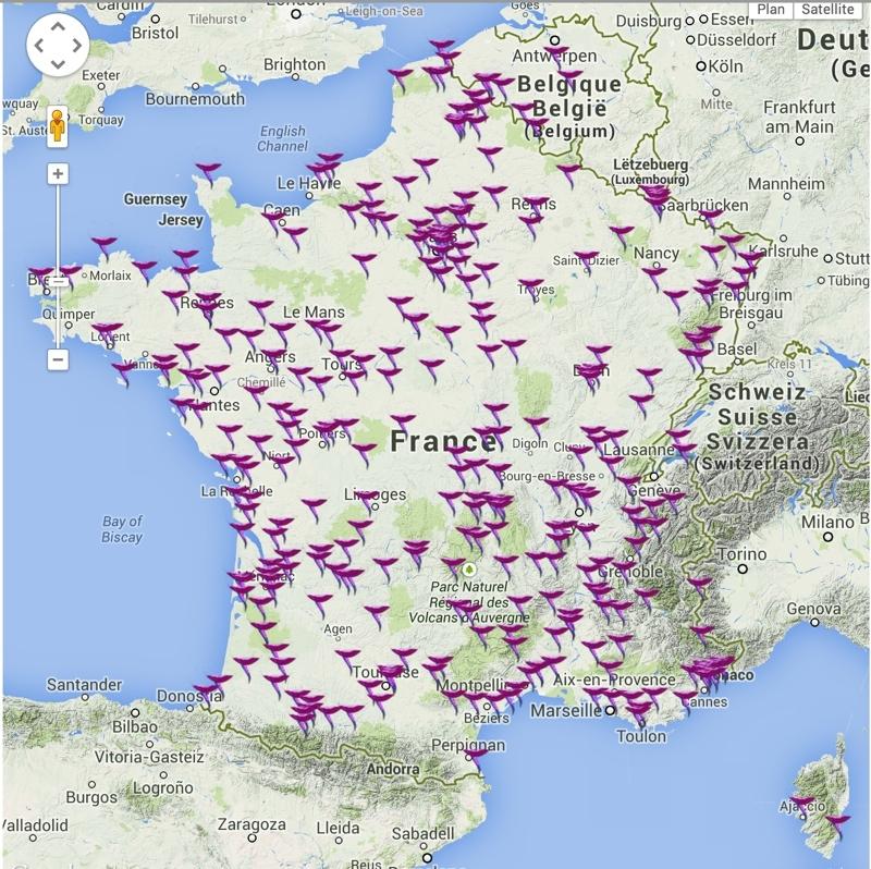 Villes françaises qui accueilleront les Nuits des étoiles 2014. Crédits : Google Maps.
