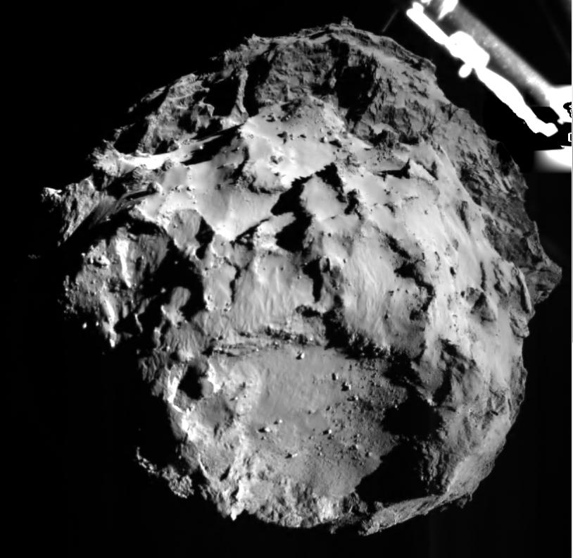 Image de la descente de Philae à 3 km de sa comète ce 12 novembre 2014. Crédits : ESA/Rosetta/Philae/ROLIS/DLR.